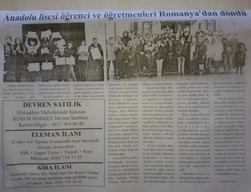 Silifke's local newspaper's news about our school visiting to Botosani Romania 9 March 2018 date